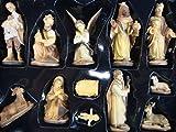 Große historische Design Figuren für große Weihnachtskrippen aus Holz Echtholz-Optik 12-teilig 15 cm KFX-HO im Holzfiguren-Stil handbemalt und GEBEIZT -