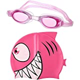 aoxintek Kid 's adorable Cartoon Animal Juego de gorro y Anti-Fog–Gafas de natación para niños y niñas Rose Shark