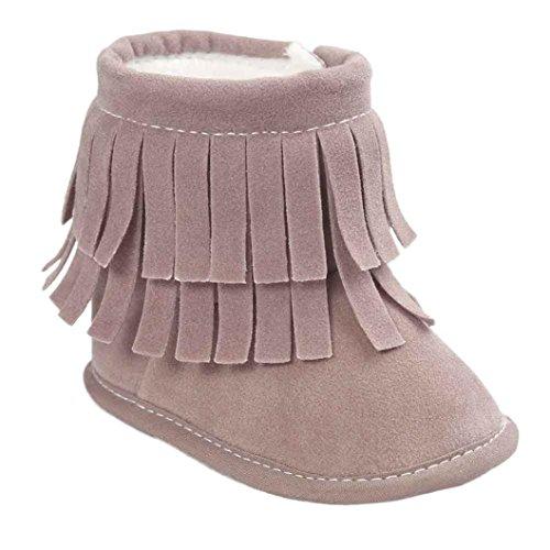 Baby Halten Warme Krippe Schuhe Kleine Sohle Schneestiefel (12, Wassermelonenrot) Grau1