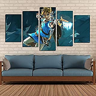 BOYH Legende von Zelda Gaming 5 Stück Wall Art Poster HD Drucke Art Leinwand Dekoration Poster Home Decor Wall,B,30×50×2+30×70×2+30×80×1