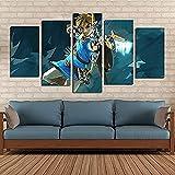 BOYH Legende von Zelda Gaming 5 Stück Wall Art Poster HD Drucke Art Leinwand Dekoration Poster Home Decor Wall,B,10×15×2+10×20×2+10×25×1