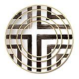 OZYOL Crossy Platzteller Porzellan cm Weiß mit schwarzen Linien | 12k echtem Goldrand | Kuchenteller | Servierteller | Teller | Tischservice | (Ø16)