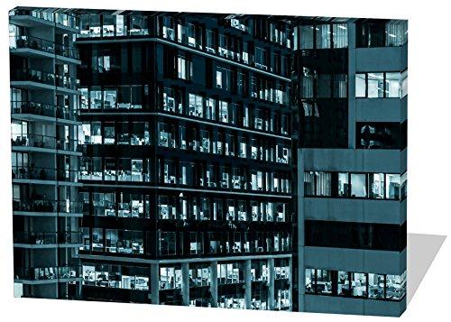 Bürokomplex, Gemälde Effekt, schönes und hochwertiges Leinwandbild zum Aufhängen in XXL - 100cm x 70cm, echter Holzrahmen, effektiver Pigmentdruck, modernes Design für Ihr Büro oder Zimmer