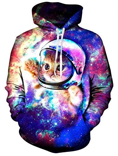 Loveternal Unisex Adulto Astronauta 3D Gato Lazo impresión gráfico Bolsillo Hacer Pullover Hoodies Camiseta para los Hombres de Las Mujeres S