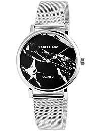 Trend de Wares de mujer reloj de pulsera Negro Plata mármol de Look Analog Mesch banda cuarzo Metal Modern Mujer Reloj