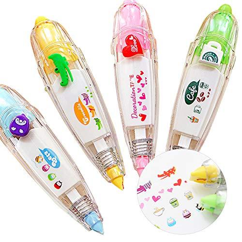 STAR SSTO 4pcs nettes Neuheit-Aufkleber-Maschinen-Dekoration-Klebeband DIY Dekoration-Anstrich-Feder-Korrektur-Band Hübsche Muster für Kinder