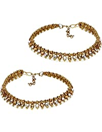 Jewels Gold Alloy Party Wear Stylish Fancy Anklet For Women & Girls