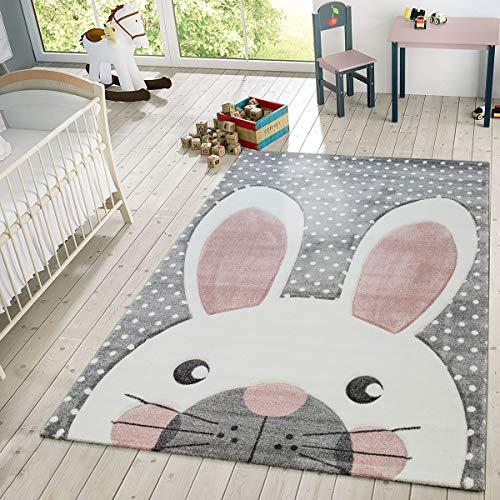 Kinder Teppich Moderner Spielteppich Hase Pastell Töne In Beige Grau Rosa, Größe:120x170 cm