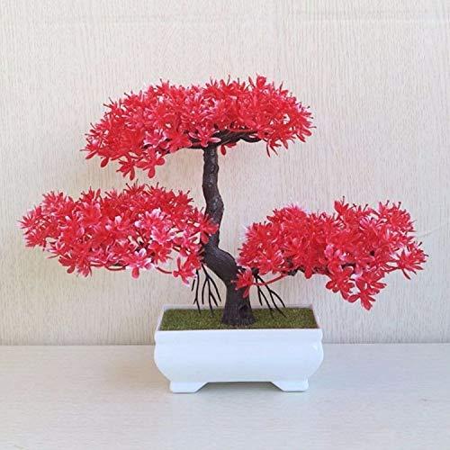 Dolo Fake Blume Hochwertig Kunstblume Pflanze Heimdeko Tischaccessoires Kunststoff Red Square Ceramic Flower Pot Red Square Pot