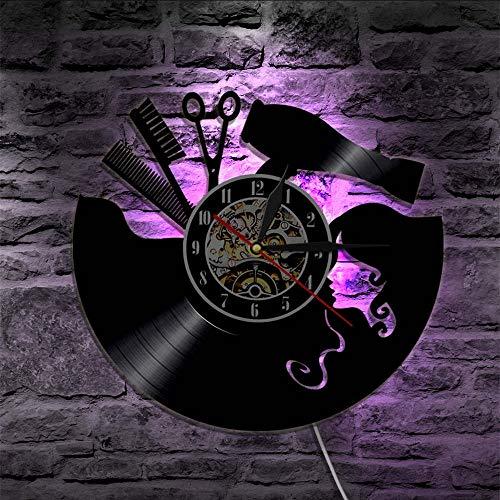 artrockner Schönheitssalon Wanduhr Friseur Vinyl Record Uhr Vintage Barber Wand Zeichen Haarschnitt Wandkunst Geschenk, Mit LED ()