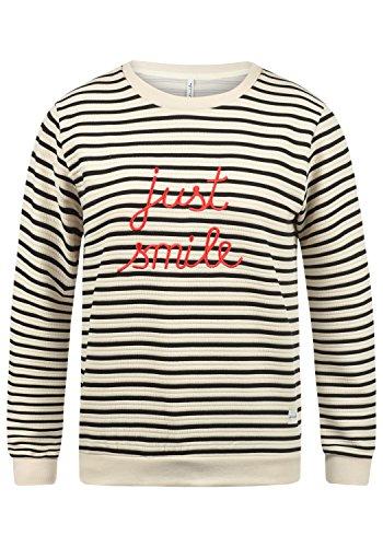 Blend SHE Daria Damen Sweatshirt Pullover Sweater mit Rundhals-Ausschnitt und Stickerei aus hochwertigem Material, Größe:S, Farbe:Snow White (20006)