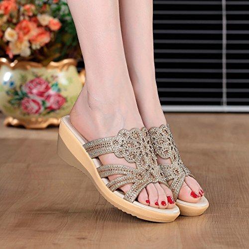 ZPPZZP Ms sandali pantofole estate con la parola trascinare trapano artificiale 38EU