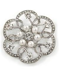 Novia, novia, boda, cristal, perla simulada abierto flor broche en rodio chapado–50mm
