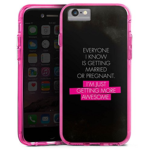 Apple iPhone 7 Bumper Hülle Bumper Case Glitzer Hülle Awesome Sprüche Sayings Bumper Case transparent pink