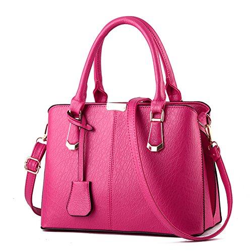 fanhappygo Fashion Retro Leder Abendtaschen Damen Schulterbeutel Umhängetaschen totes pink
