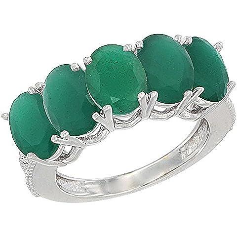 Revoni-Bracciale in oro bianco, 14 carati, con smeraldo 1 ct, ovale, 7 x 5 mm/5-Anello da donna con pietra in madreperla, con dettagli in brillantini