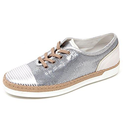 D0442 sneaker donna TOD'S scarpa rafia argento paillettes shoe woman Argento