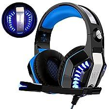 Gaming Headset für PS4 Xbox One PC, Beexcellent Professional Deep Bass Kopfhörer mit Mikrofon LED Licht für Laptop Mac Handy Tablet