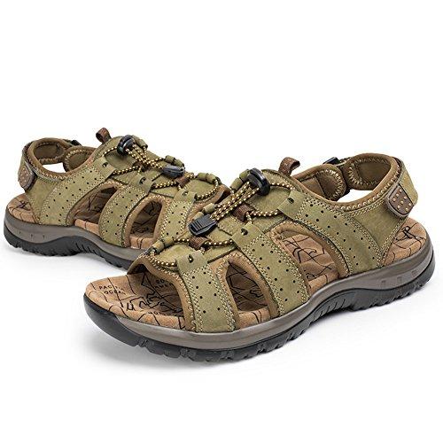 Moollyfox Strap Sandales Homme En PU-Cuir/Chaussures De Sport Vert