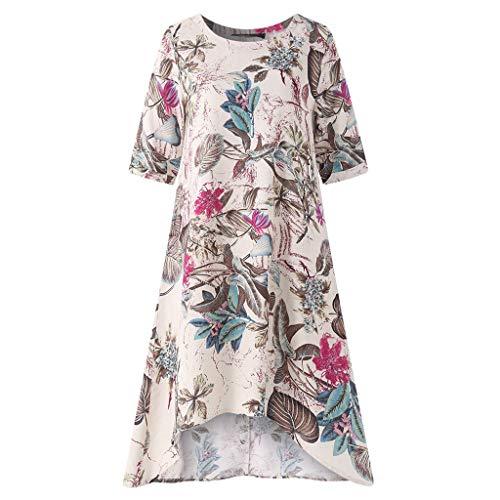 kolila Damen Plus Size Leinenkleid Sommer Sale Womens Casual Oansatz Ethnic Style Floral Printed Kurzarm Unregelmäßigkeit Vintage Dress Bluse Tops Übergroßen XXXXXL(Hot Pink,M)