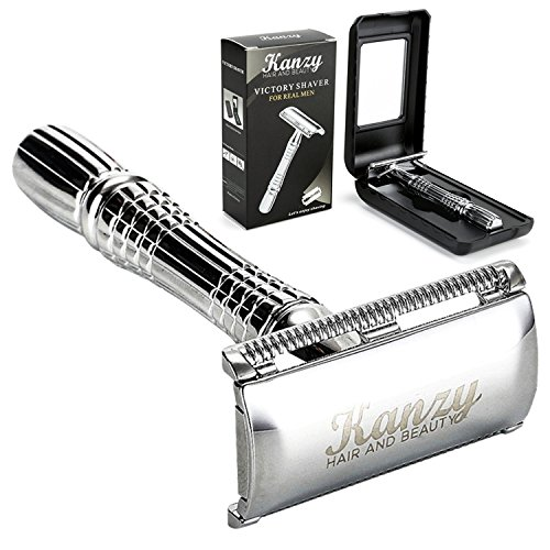 Kanzy ® K100 – Double Edge Safety Razor – Fits All Double Edge Standard Razor Blades – Safety Razor – Blades Are Not Included + Presentation Case With Inside Mirror (K-100)