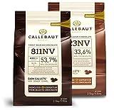 Saver Bundle Callebaut, Milk & 54% dark chocolate chips (2...