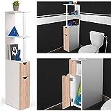 ProBache - Meuble WC étagère bois gain de place pour toilette 2 portes hêtre