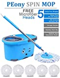 #9: PEony Mop Bucket Magic Spin Mop Bucket Double Drive Hand Pressure With 5 Micro Fiber Mop Head Household Floor Cleaning & 4 Color May Vary (With Soap Dispenser)