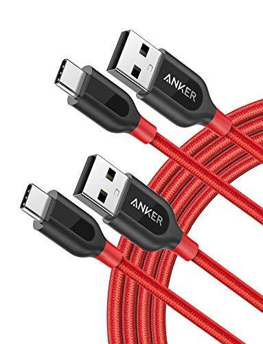 Anker [2-Pack] Powerline+ USB C Kabel, 0.9m, für Galaxy S8, S8+, S9,S10, MacBook, Sony XZ, LG V20 G5 G6, HTC 10, Xiaomi 5 und mehr (Rot) - Amazon Htc One Fällen
