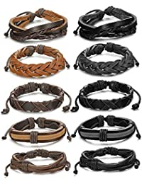 BESTEEL 10PCS Braided Leather Bracelets for Men Women Rope Bracelet Wrap Handmade, Adjustable