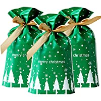 Feelava Christmas Drawstring Candy Bags 50 Pcs Xmas Tree Gift Wrapping Bags Present Package Bag Plastic Sweet Treat Goody Chocolate Bag for Wedding Anniversary Merry Christmas Party
