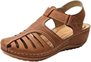 Sumwind Summer Women's Soft Leather Sandals Comfortable Flat Non-Slip Hollow Closed Toe Ankle Round Sole Shoes