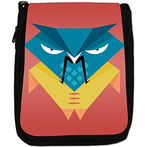 Fun Funky Awesome Wise Vecchi gufi, in tela, colore: nero, taglia: M Nero (Chinese Samurai Warrior Owl)