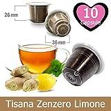10 Capsule Tisana Infuso Zenzero e Limone Nespresso - Bevanda Solubile Compatibile con Macchina Caffè Nespresso