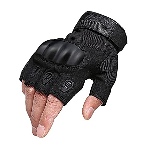 1 Pair Mens Anti Slip and Ventilate Half Finger Fingerless Gloves Motorcycle Bike Riding Cycling Gloves Camping Hiking Cross Country Ski Gloves (Black, L) by KT-SUPPLY