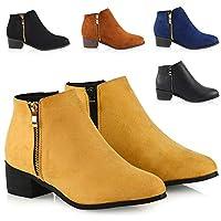 Womens Ladies Low Heel Block Cowboy Style Ladies Gold Zip Western Ankle Boots