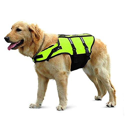 DAN Hundeschwimmweste, Hund Schwimmweste Mit Top Griff Und Reflektierende Gurte/Lebensretter Jacke Für Hund,L