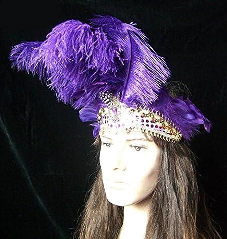 ZHEN Stage bar belly dancing ostrich feather headdress Halloween masks . 6
