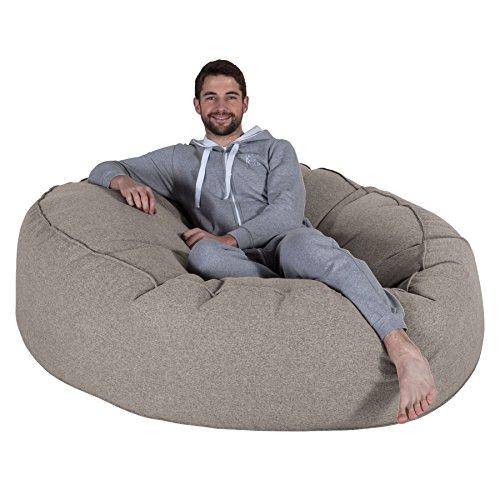 Lounge Pug, 'Mega-Mammoth' Sofa Sitzsack XXL, Schlafsofa, Interalli Wolle Silber