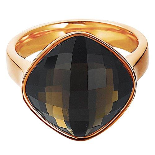 Esprit Damen-Ring Edelstahl rhodiniert Glas Glaskristall impressive Braun