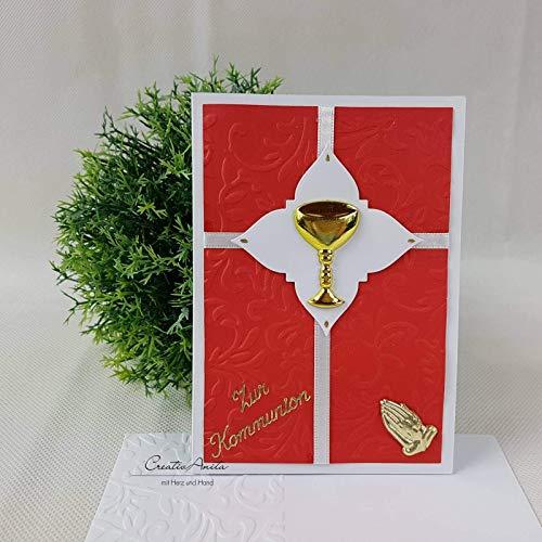 Glückwunschkarte Kommunion - Rot-Gold