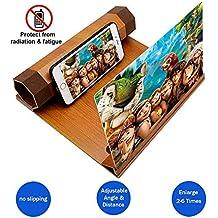 Lupa de pantalla de teléfono 3D con soporte de madera, pantalla de 12