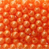 250 x Kunstperle 8mm Perlen Wachsperlen Dekoperlen Bastelperlen mit Loch Kunstperlen, Farbe:orange