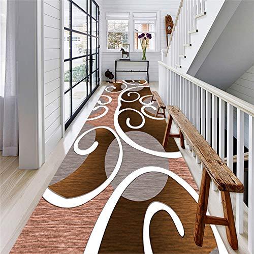 Alfombras de Pasillo Moderna Runner Area Marrón y Blanco King Design, para Entrada de Puerta de Entrada...