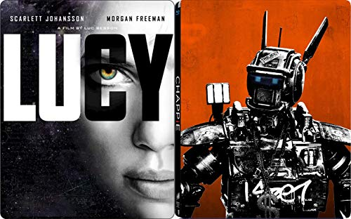 Police droid Sci-Fi Chappie Hugh Jackman + A Dark Deal - Lucy Scarlett Johansson Steelbook Special Edition Double Movie Collection 2 Blu Ray Pack
