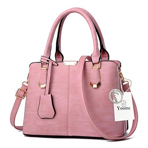 Sacchetti depoca Yoome per le donne Top Handle Satchel Borse eleganti per borse da regalo Cinturino in pelle di moda - verde Rosa