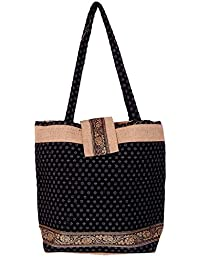 Womaniya Women's Handbag (Black) (Handicraft Jute Bag)