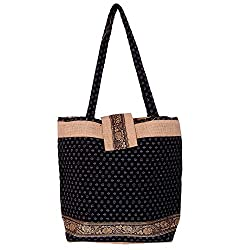 Womaniya Women's Handbag (Black) (Handicraft Jute Bag)