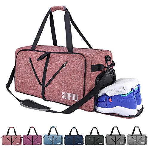SUNPOW Faltbare Reisetasche, 85L Packbare Sporttasche mit Schuhfach Gym Fitness Tasche für Herren and Frauen Wochenend Handgepäck Tasche Reisegepäck mit Schulterriemen - 100% Robust