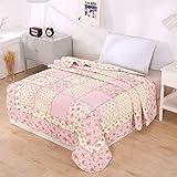 Alicemall Tagesdecke Baumwolle Bettüberwurf 150x200cm Sofa Couch Überwurf Decke Sommerdecke Gesteppt Steppdecke - Blumen Rosa